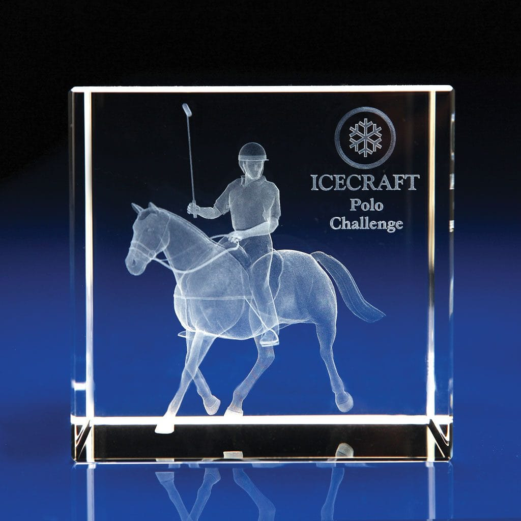 Crystal Cube Award - Polo Trophy, Equestrian Trophies & Awards