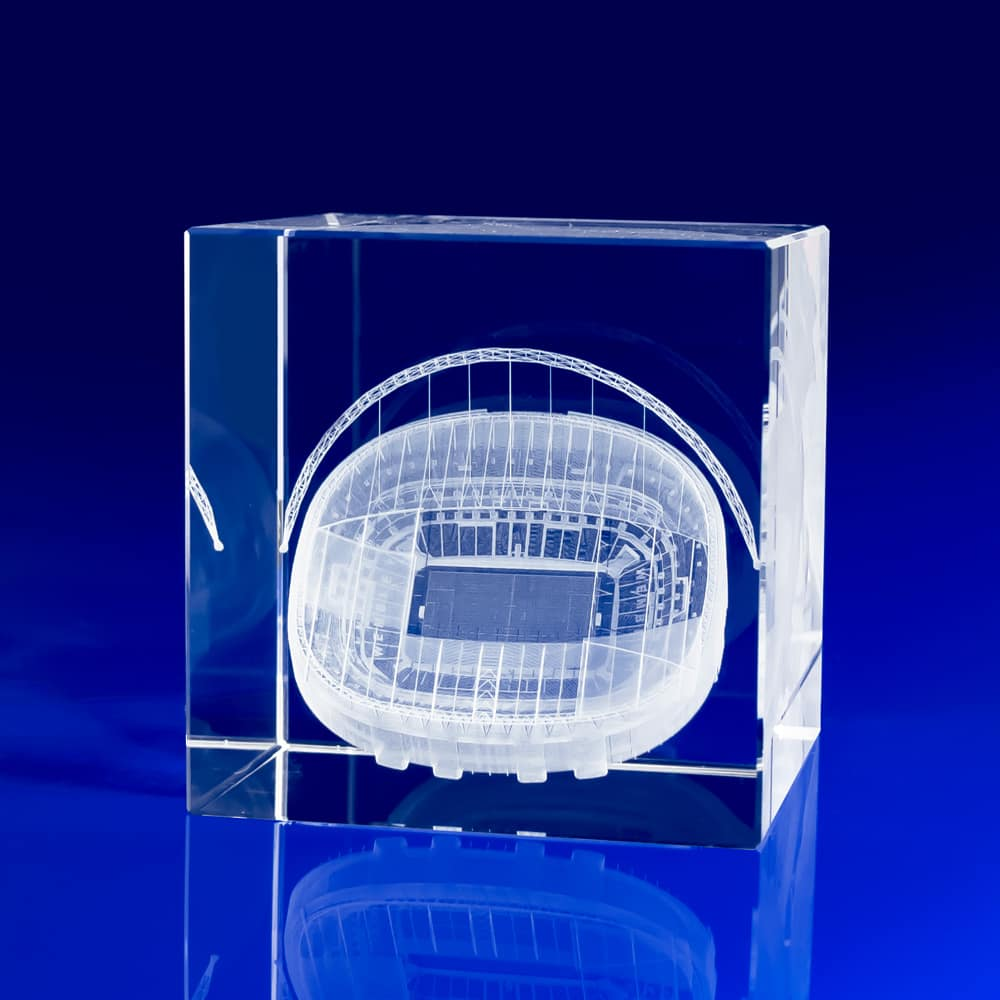 Cube Award - Football Stadium, Crystal Trophy awards for football, Football Awards, Crystal Trophies, Sports Trophies, Sports Awards, Crystal Sports Trophies, Football Trophies, custom football trophy, Crystal Sports Awards for Football, 3D glass cubes