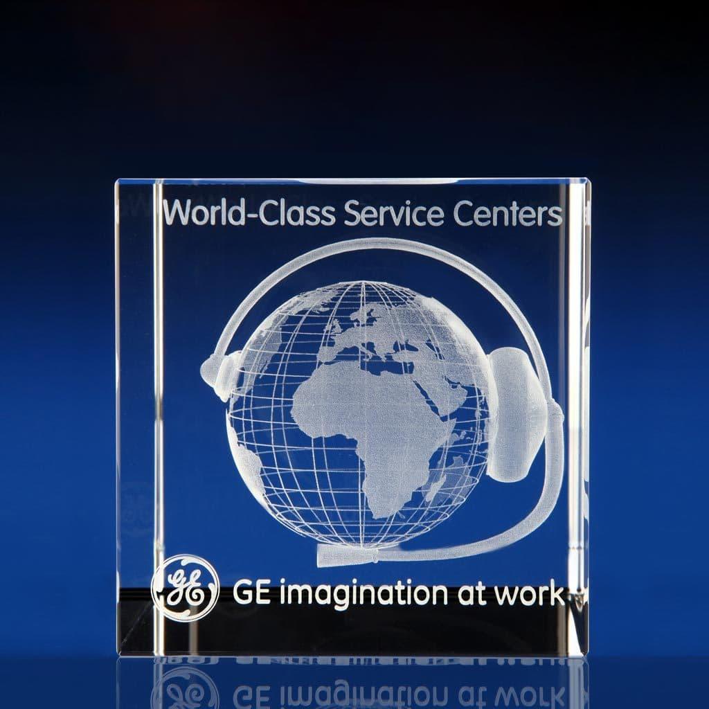 Cube award - 3D world globe, 3D glass cubes