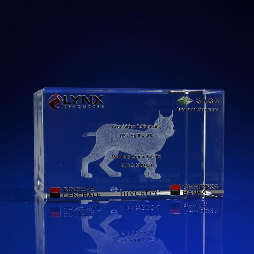 Rectangle Crystal Award - Lynx Print