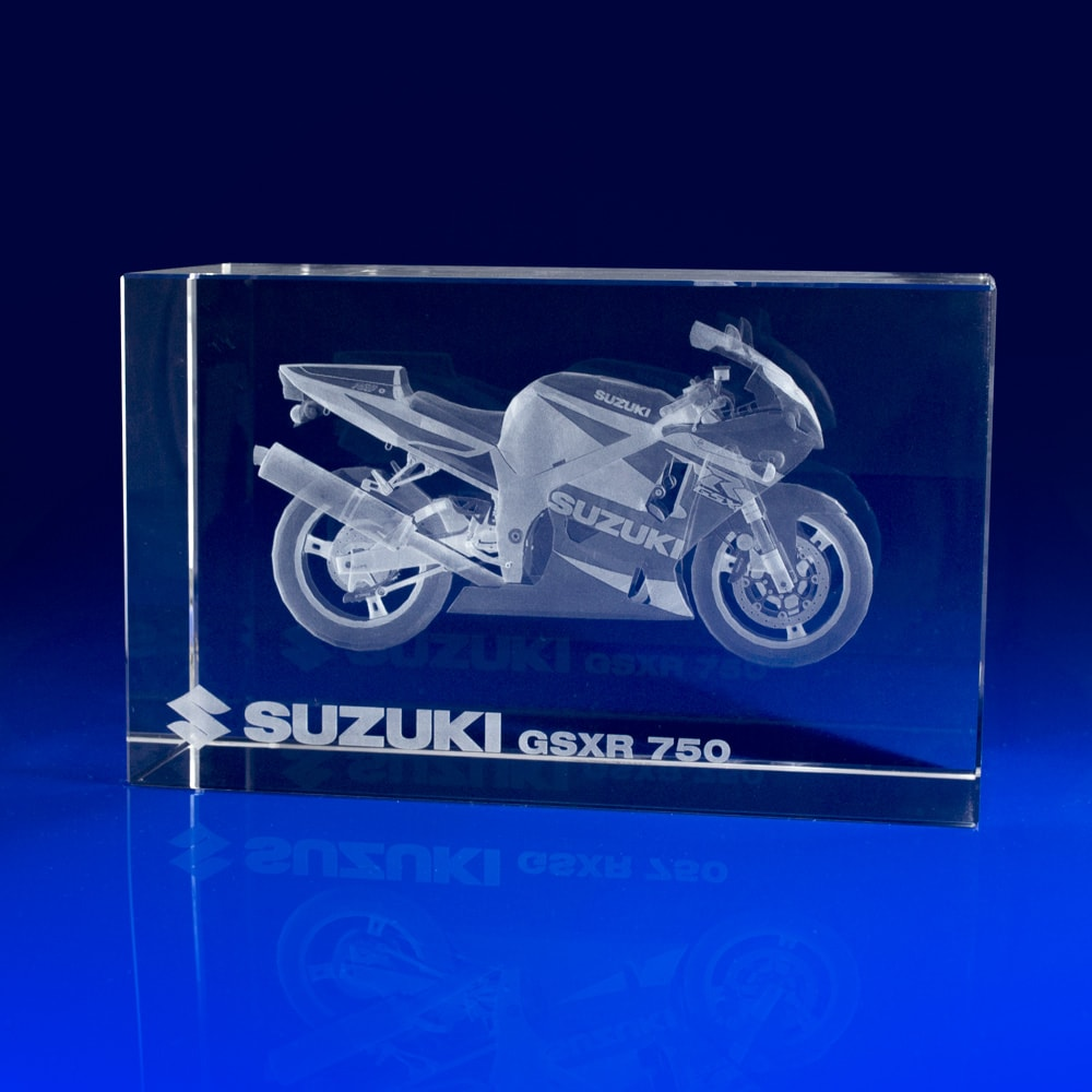 Rectangle Awards, Motorbike in Crystal, Suzuki, Brand Promotional gifts, Motorcycle Giveaways, Trade giveaways, Show gift, event gifts, event giveaways