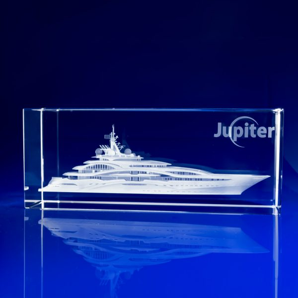 Rectangle Bespoke Awards - 3D crystal Superyacht, Chamonix Boat Crystal Award, sailing awards, sailing awards and trophies, sailing prizes, sailing trophies, sailing trophies uk, sailing trophy ideas, nautical awards, maritime awards, custom trophies, Boats