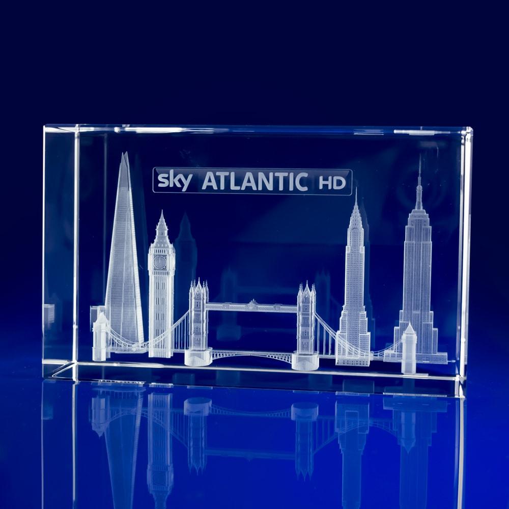 Rectangle Bespoke Awards - Engraved Skyline, London Skyline, Crystal Awards, Corporate Awards, Big Ben Crystal, Tower Bridge, Broadcasting Awards, 3D Engravings