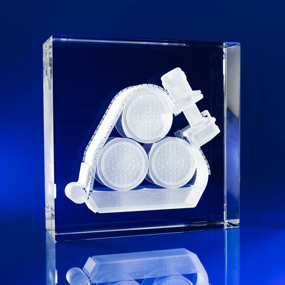 Square Crystal Awards - mechanical clamp, engineering clamp, corporate awards, machinery awards, mechanical parts, 3D engraved crystal awards, event awards, product launch awards, corporate events, construction awards, Engineering Awards