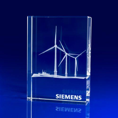 Venice Crystal Award - 3D engraved wind turbines