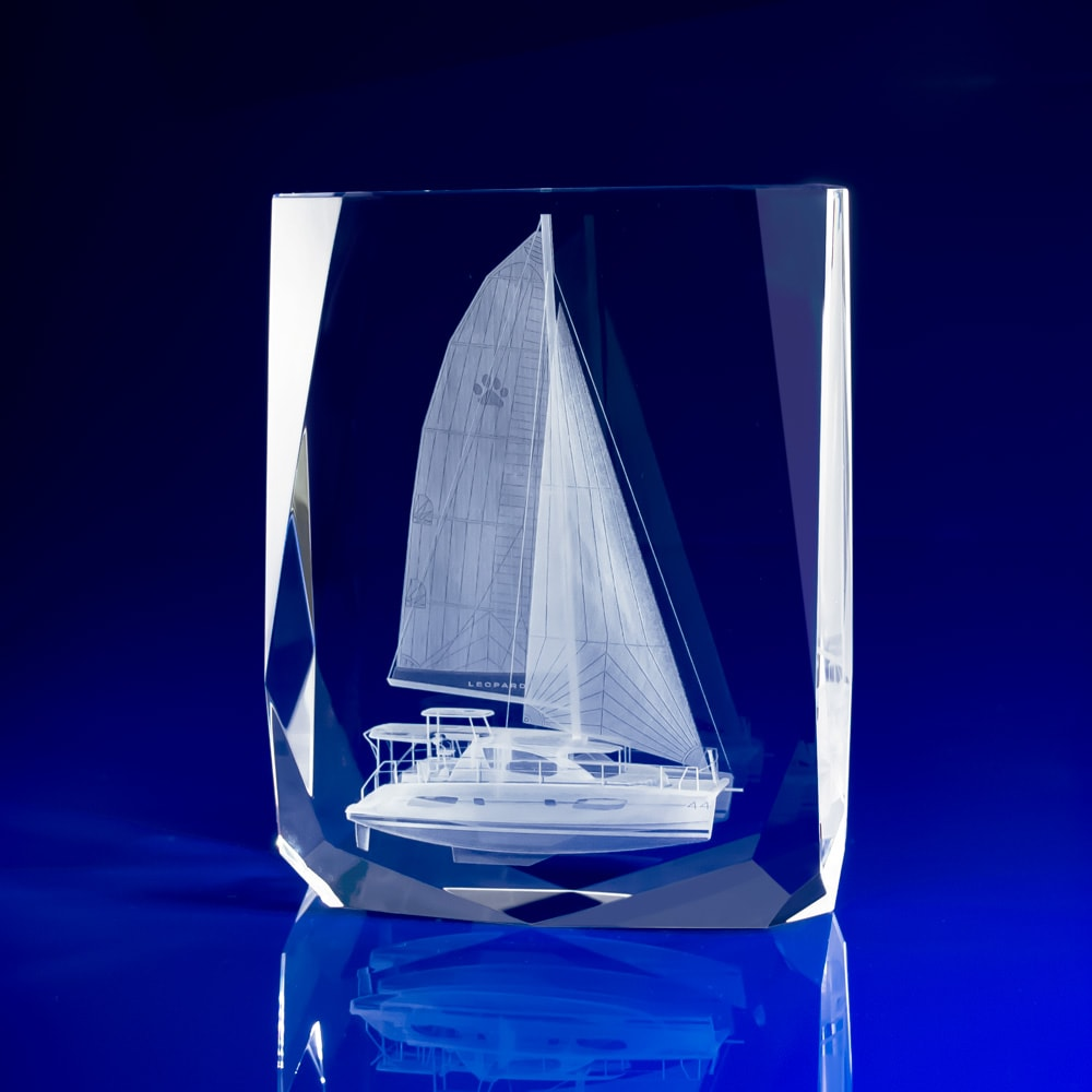 Chamonix Crystal Paperweight with 3D Yacht, gifts, corporate paperweights, Corporate crystal paperweights, corporate promotional paperweights, crystal art glass, business paperweights, glass paperweights, glass engraved paperweights, engraved 3D gifts, glass paperweights, bespoke paperweights, business gifts, promotional gifts, promotional giveaways, sailing gifts, boat race gifts, boating event gifts, maritime gifts,
