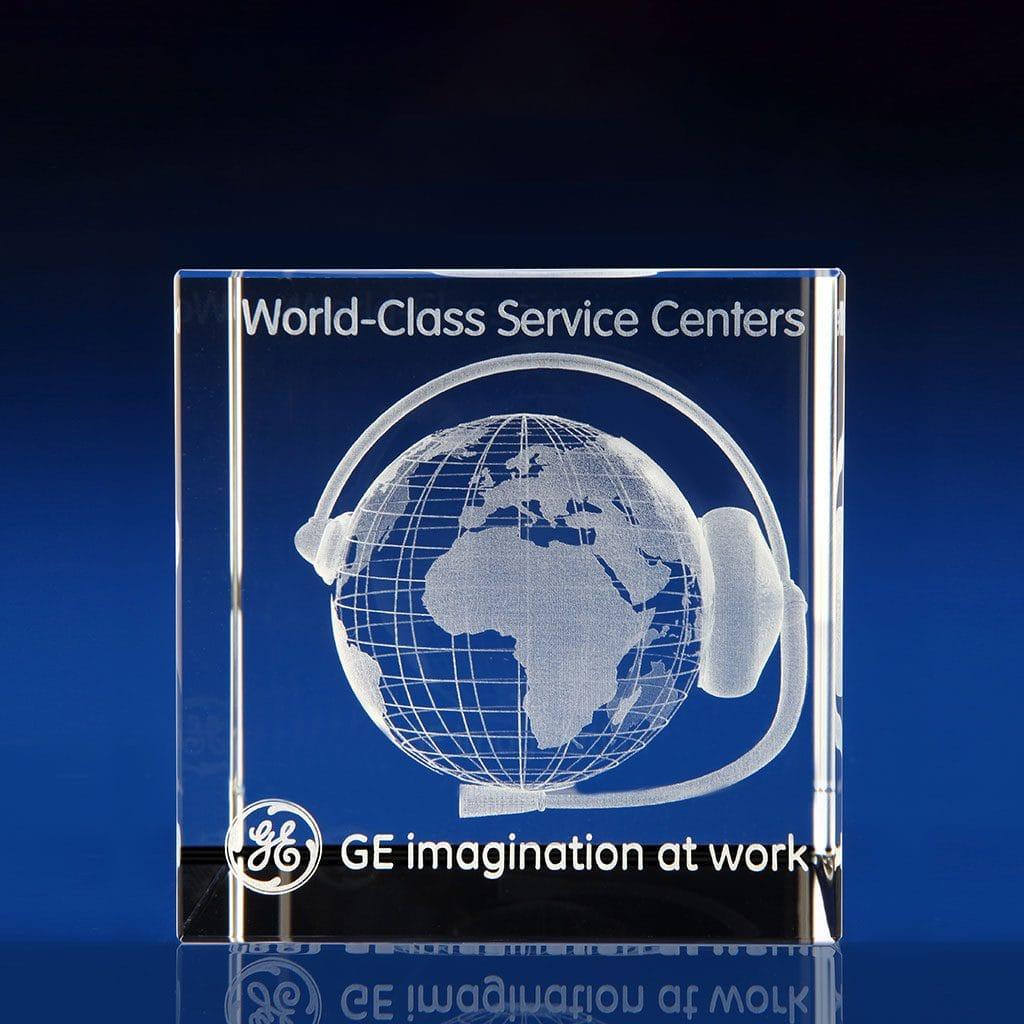 Cube award - 3D world globe