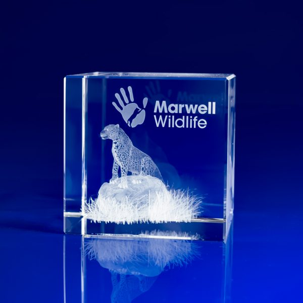 personalised crystal paperweights, engraved crystal paperweights, Corporate gifts paperweights, corporate event day giveaways, event day gifts, corporate experience gifts, corporate day gifts, crystal paperweights, crystal engraved paperweights, engraved 3D gifts, glass paperweights, zoological gifts, zoo giveaways, cheetah, leopard in crystal, Marwell Zoo,