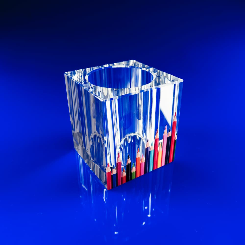 Corporate Pen pot with full colour print, crystal pen pot, corporate engraved gifts, corporate glass gifts, Penpot, pen holder, desk tidy, corporate glass gifts, promotional gifts, corporate gifts, giveaways