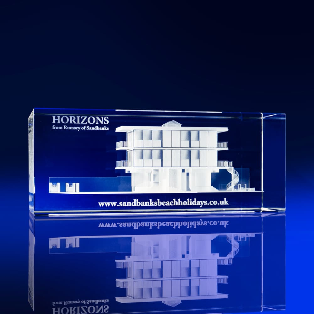 Rectangle Paperweights, 3D building crystal designs, architecture awards, buildings in crystal