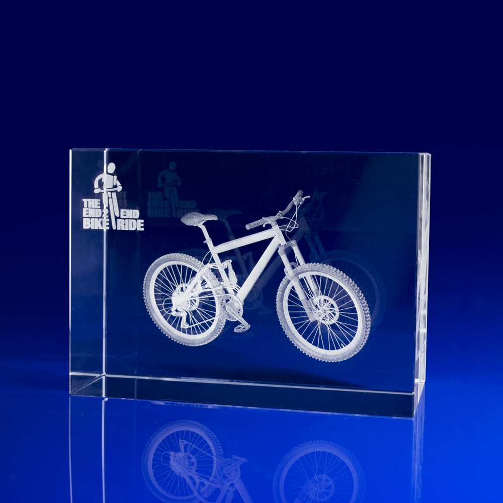 Rectangle Crystal Paperweight - 3D bicycle, Crystal Paperweights, Paperweight gift, bike giveaways, bike events, bicycle promotions, pedal bike giveaways