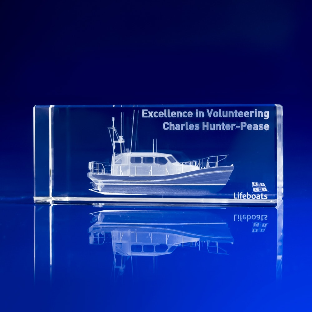 Rectangle Crystal Paperweight - Boat, RNLI Charity Gifts, Lifeboats, Employee Gifts, Employee Recognition Awards, Volunteer Awards,