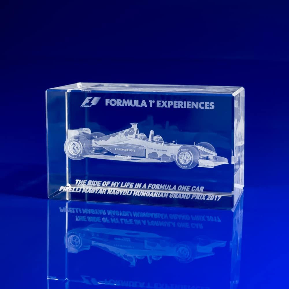 Rectangle Paperweight - 3D F1 car, Corporate gifts paperweights, corporate event day giveaways, event day gifts, corporate experience gifts, corporate day gifts, crystal paperweights, crystal engraved paperweights, engraved 3D gifts, glass paperweights, racing day gifts