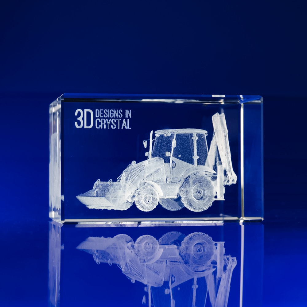Rectangle Paperweight - 3D Tractor, Engraved Crystal Paperweights, Employee Gifts, Corporate Gift Paperweights, engraved glass paperweights uk, promotional paperweights, corporate engraved gifts,custom paperweights, glass paperweights