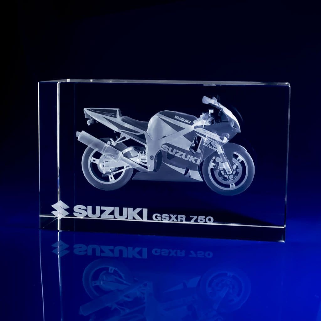 Rectangle Paperweight - motorbike, crystal awards supplier, crystal awards uk, corporate awards, rectangle award, rectangles, paperweight