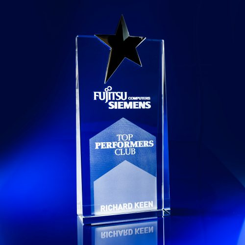 Tapered Silver Star Award - 3D engraved
