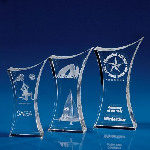 Corporate Crystal Trophy Paperweight - all sizes