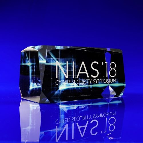 Colour print crystal paperweight- Roma Crystal - NIAS Cyber Security